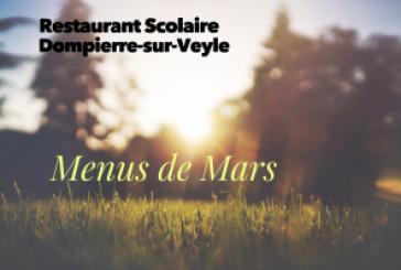 Menus du restaurant scolaire mars 2019