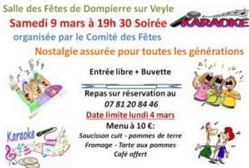 Soirée karaoké  samedi 9 mars 2019 organisée par le Comité des Fêtes