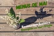 Menus Restaurant Scolaire mai 2019