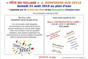 Samedi 31 Août 2019 – fête du village au plan d'eau