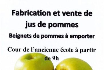 """Matinée """"autour de la pomme""""  du club des retraités samedi 5 octobre à partir de 9h dans la cour de l'ancienne école"""