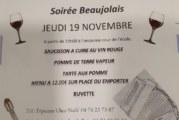 """Soirée """"beaujolais"""" jeudi 19 novembre à partir de 19h dans la cour de l'ancienne école"""