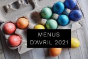 Menus Restaurant Scolaire Avril 2021