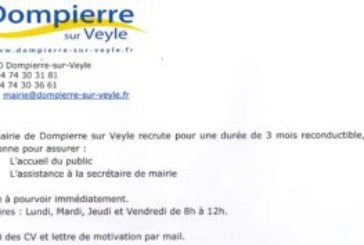 Offre d'emploi / Mairie de Dompierre s/Veyle