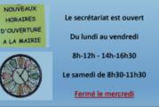 Nouveaux horaires d'ouverture de la mairie